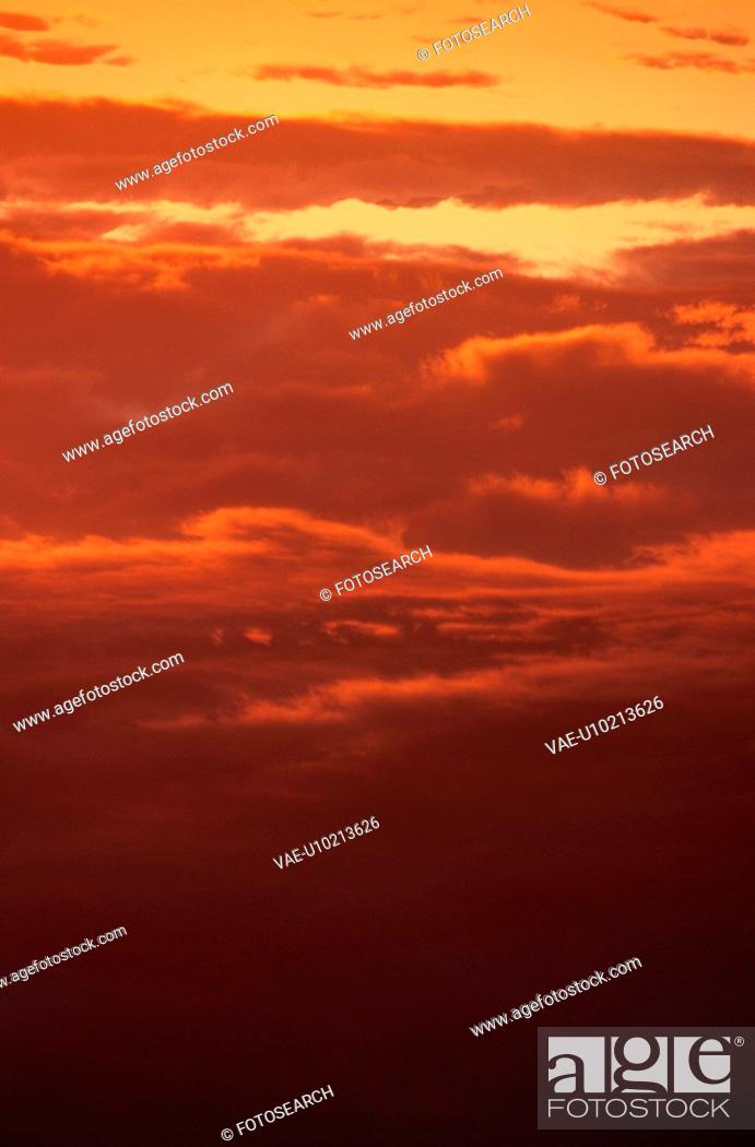 Stock Photo: Red Sunset Sky.