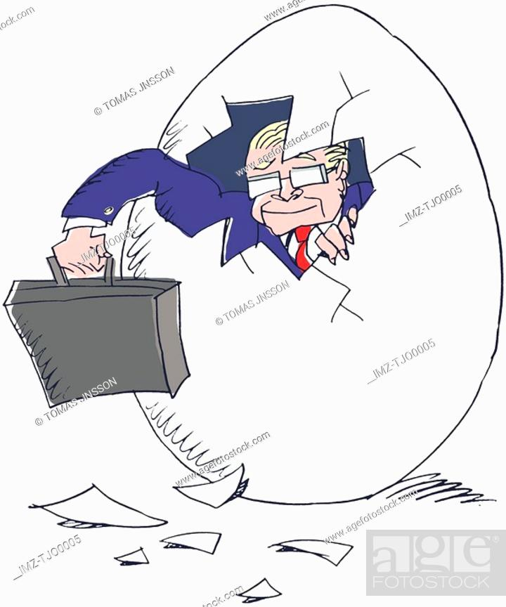 Stock Photo: A businessman breaking out of his shell.
