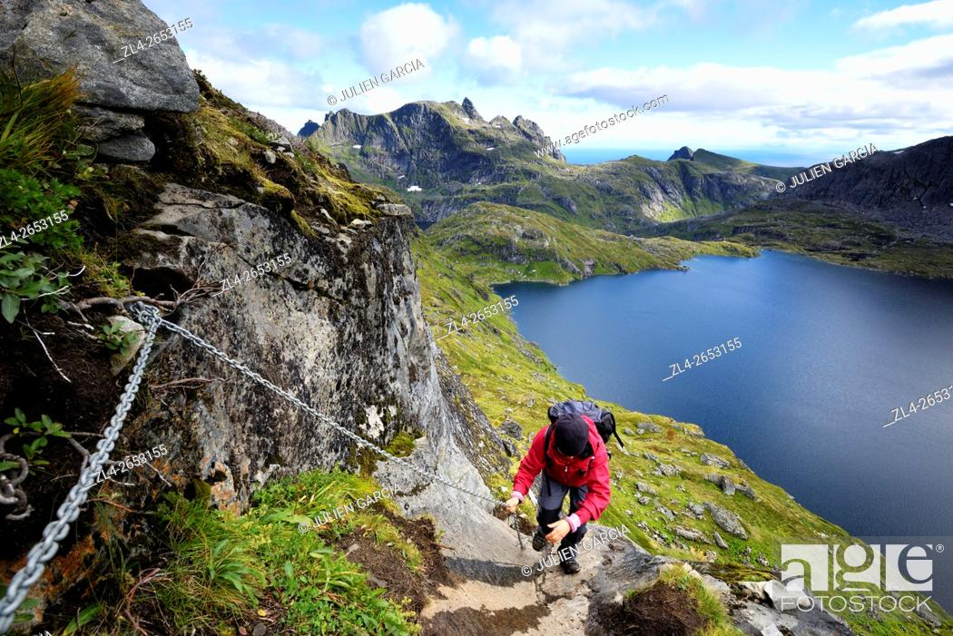 Stock Photo: Norway, Nordland, Lofoten islands, Moskenesoy island, hiking to the summit of Hermannsdalstinden (the highest mountain on the island at 1029m).
