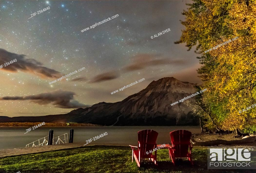 Stock Photo: A nightscape scene at Linnet Lake area in Waterton Lakes National Park, looking east over Upper Waterton Lake and toward Vimy Peak.