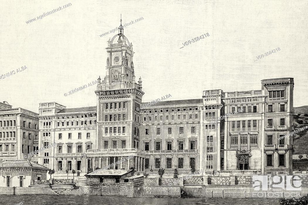Photo de stock: Royal College of Pious Schools Sarria, Bracelona. Catalonia, Spain. Old XIX century engraved illustration from La Ilustracion Española y Americana 1894.