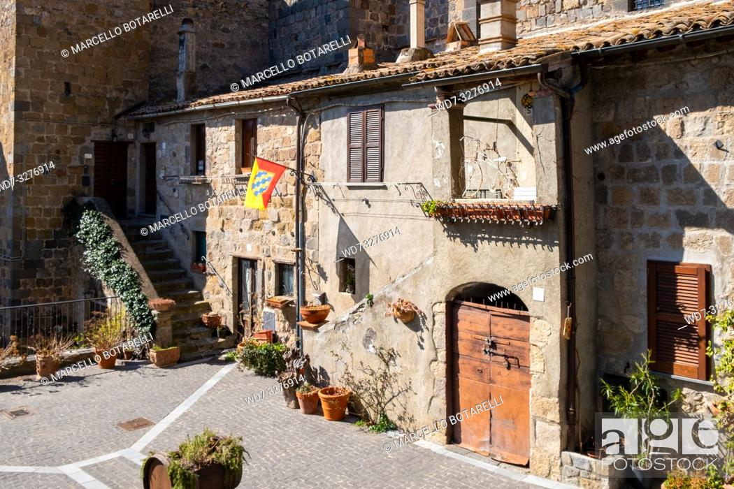 Stock Photo: Historical buiding of Bolsena, near Bolsena lake, in Lazio, in Italy.