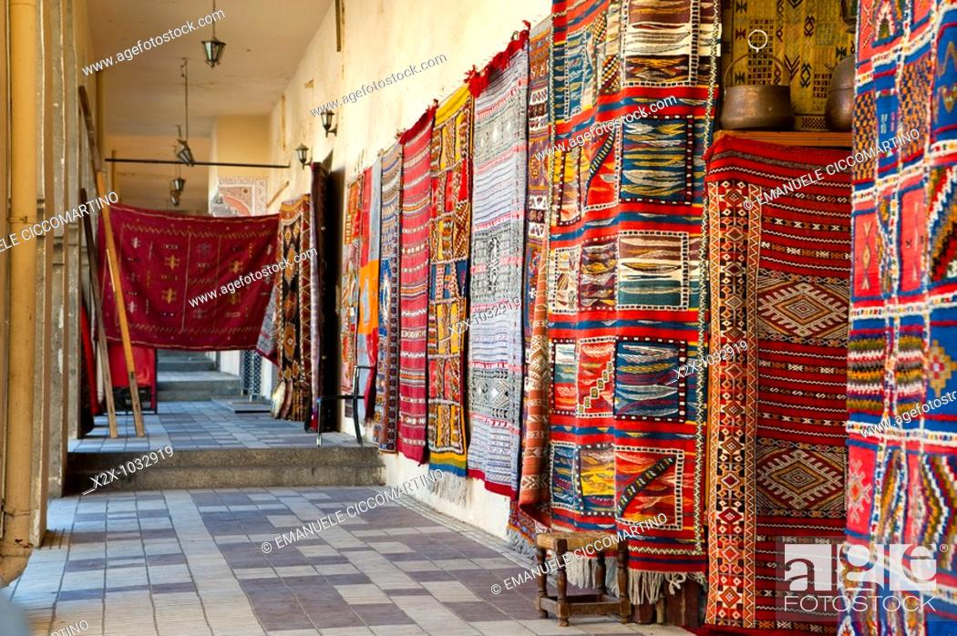 Stock Photo: Rugs store, Meknes, Morocco.