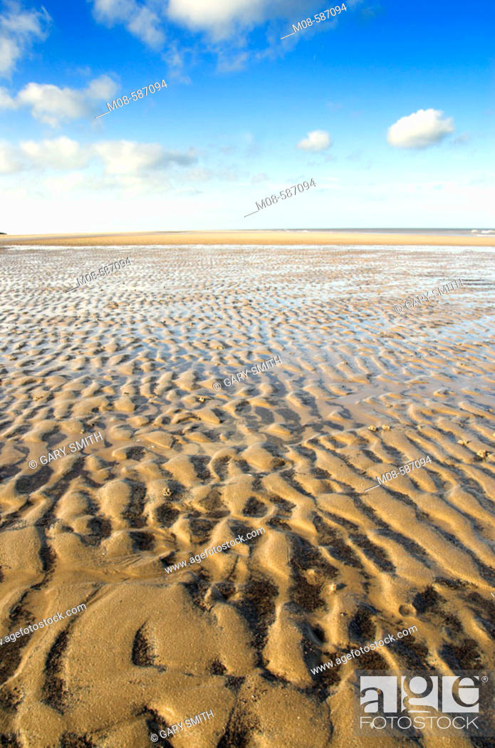 Stock Photo: Intertidal sands at low tide showing ripples and sand pattern, Norfolk, UK, November.