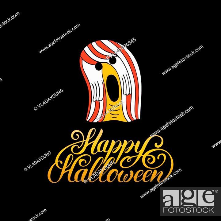 Vector: Ghost vector illustration with Happy Halloween lettering. All Saints Eve background. Festive phantom card.