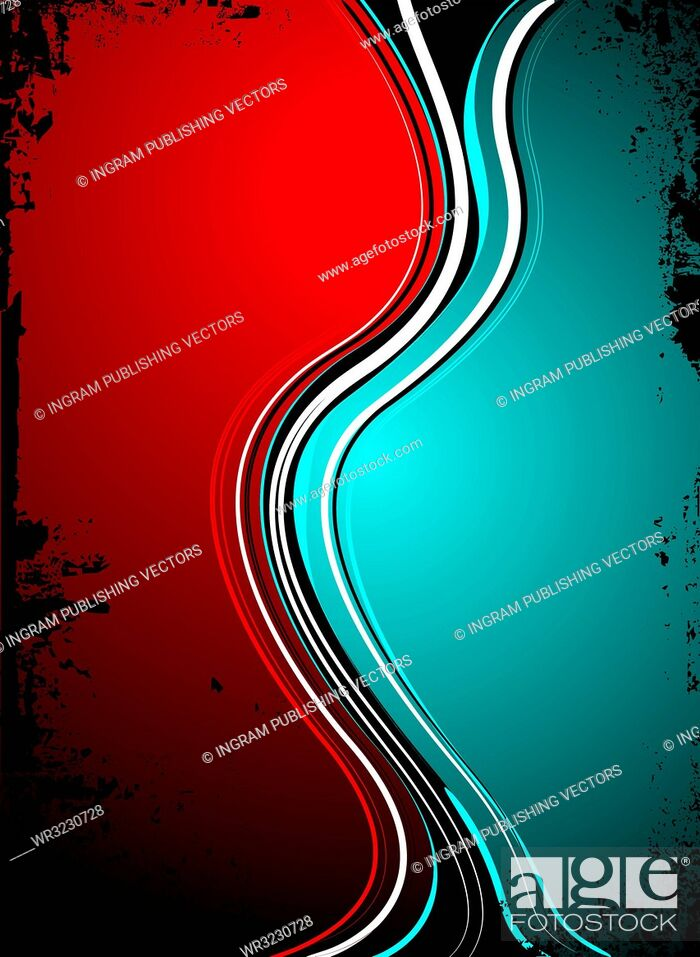 Vector: red blue split background image with grunge edges in black ink.