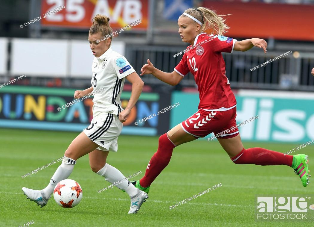 Stock Photo: Germany's Linda Dallmann (l) and Denmark's Stine Larsen in action during the UEFA Women's EURO quarterfinals soccer match between Germany and Denmark at the.