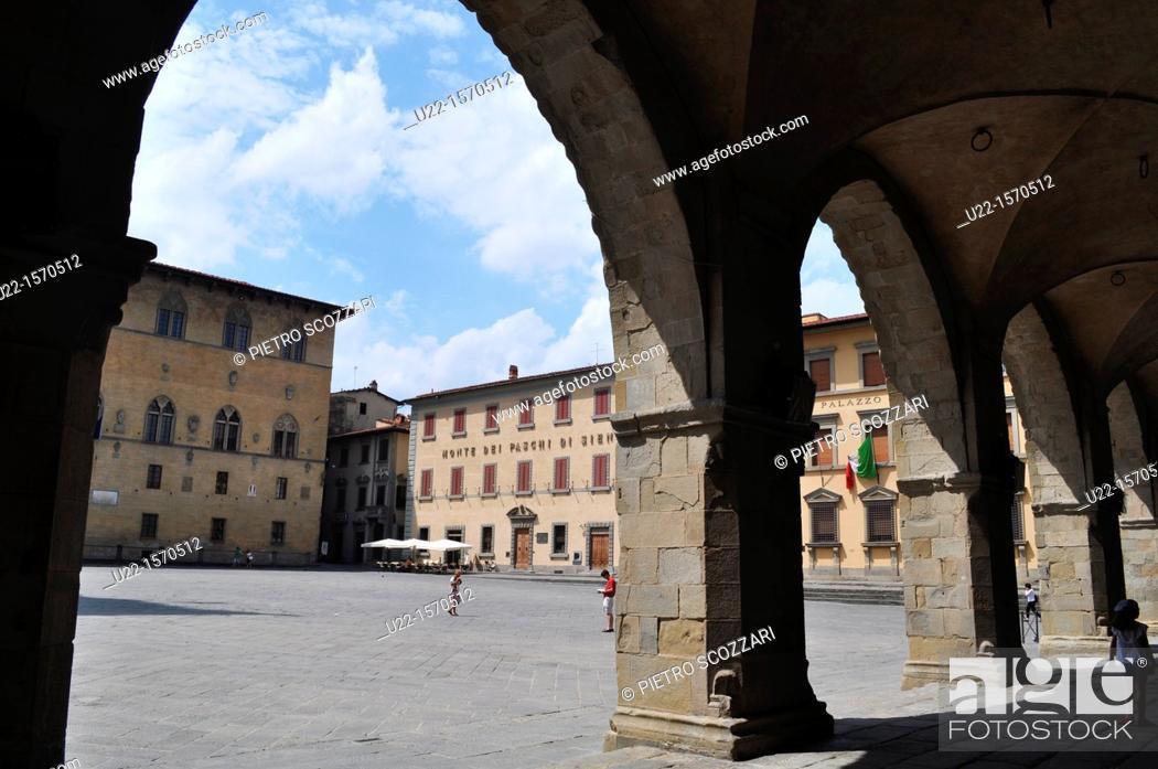 Stock Photo: Pistoia (Italy): Piazza del Duomo, seen from the Palazzo del Comune (City Hall).
