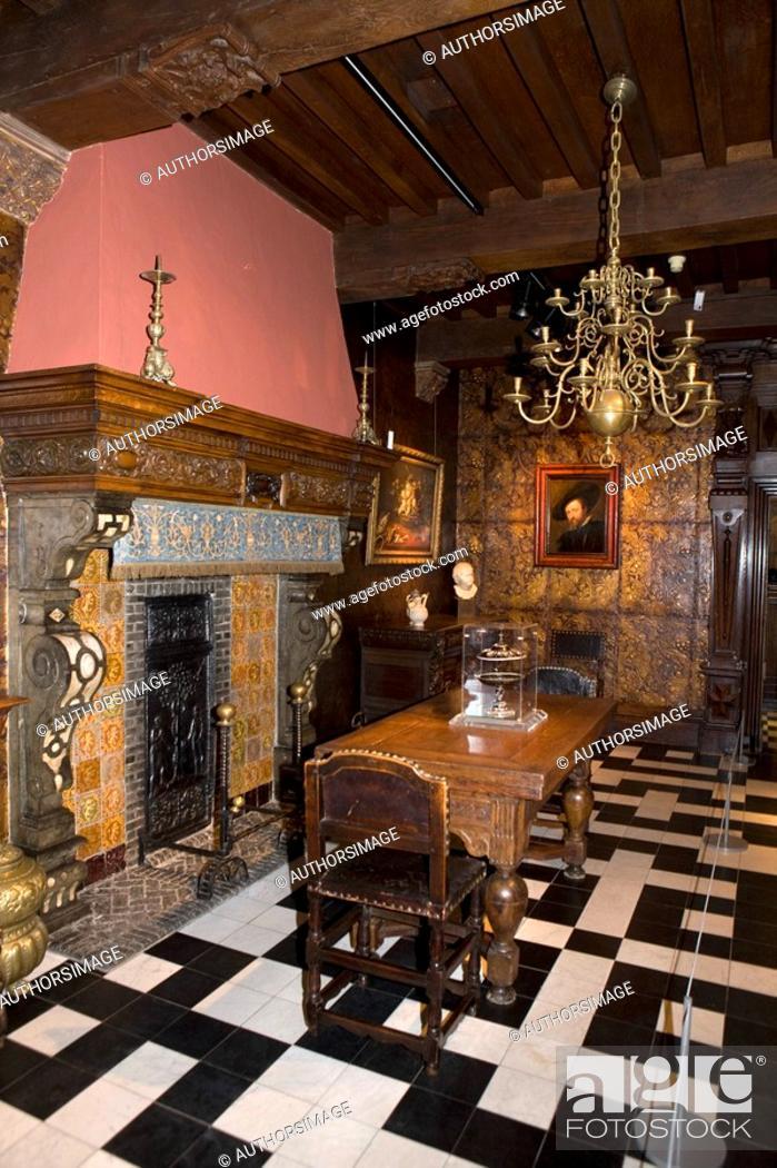 Stock Photo: Belgium - Flanders - Antwerp - Rubenhuis, home and workshop of Peter Paul Rubens - Dining room.