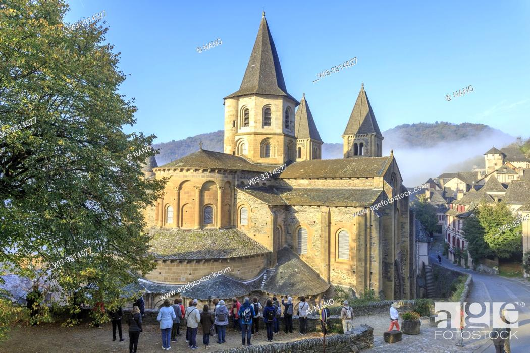 Stock Photo: France, Aveyron, Conques, labelled Les Plus Beaux Villages de France (The Most Beautiful Villages of France), stop on El Camino de Santiago, Sainte Foy abbey.