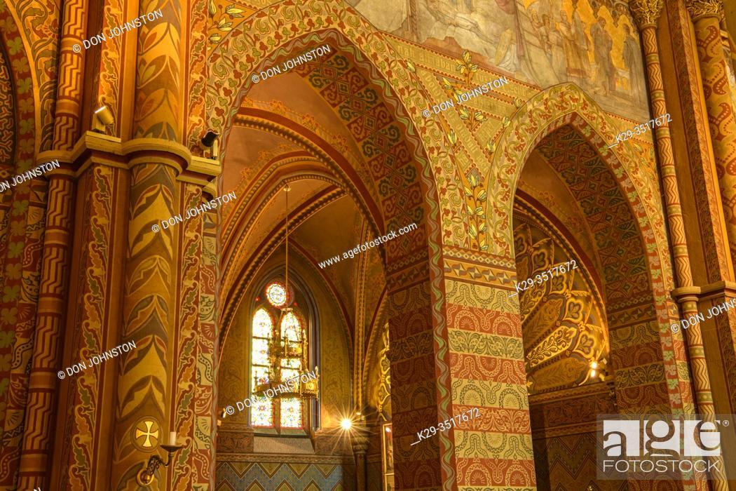 Stock Photo: Matthias Church- interior, Budapest, Central Hungary, Hungary.
