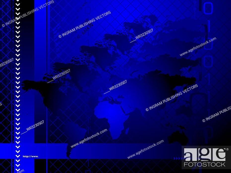 Vector: An abstract business background with a hologram like map of the world.