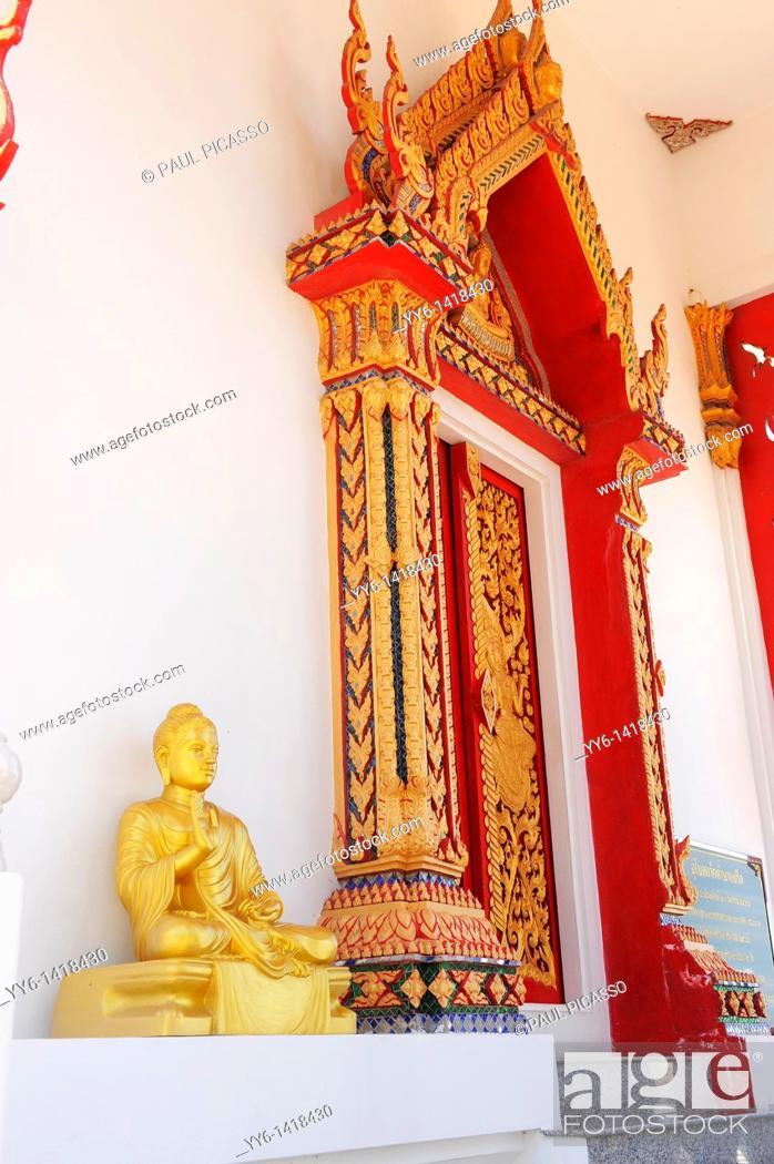 Stock Photo: buddha statue outside wat tham yai prik, temple and meditation retreat spiritual development centre, koh si chang , sri racha, chonburi, thailand.