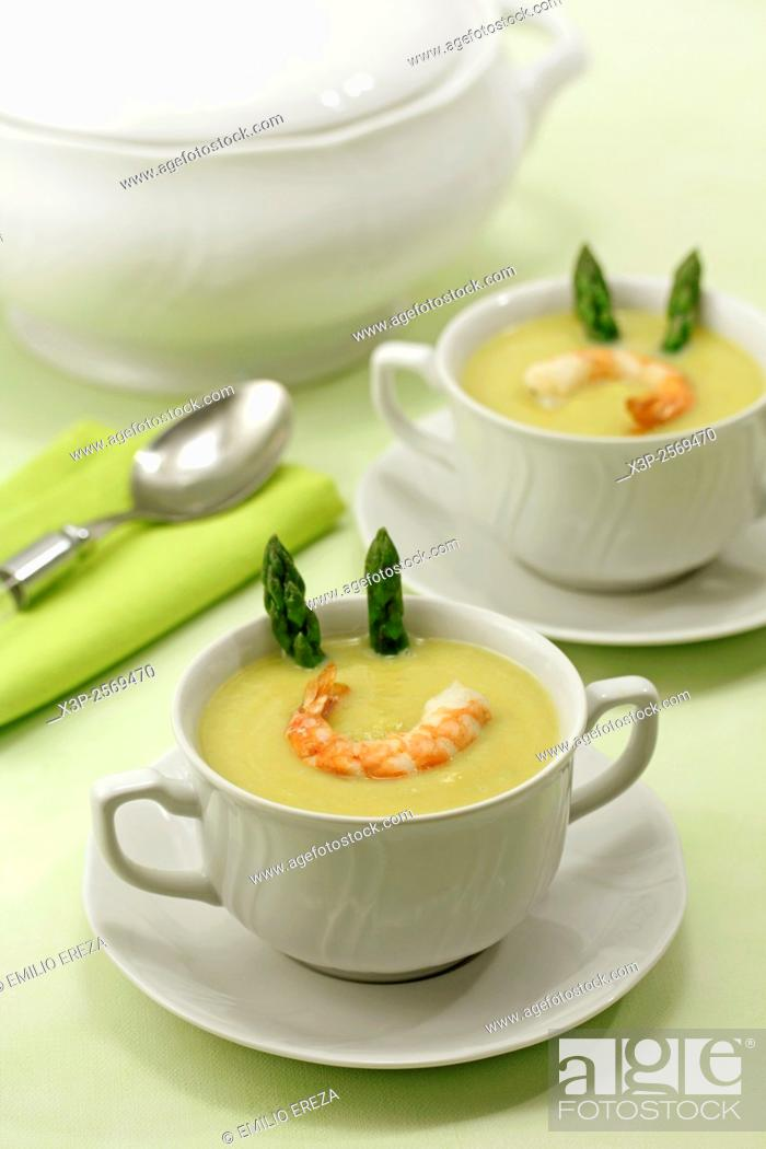 Stock Photo: Asparagus and prawns soup.