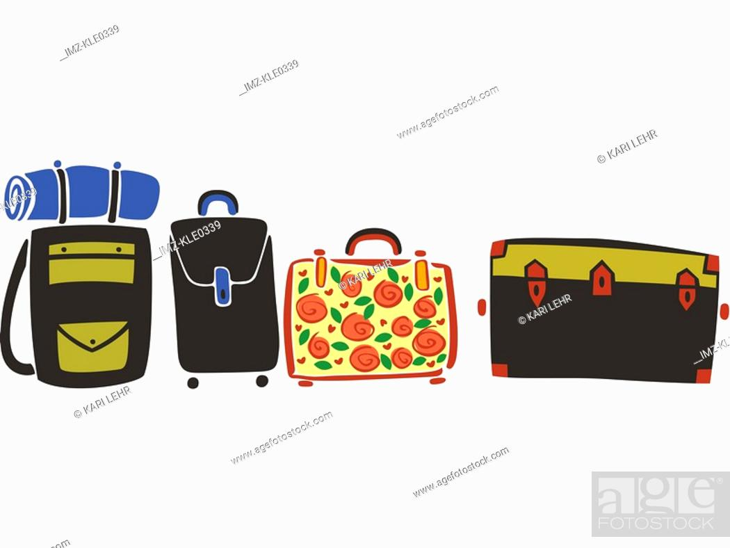 Stock Photo: A row of suitcases and luggage.