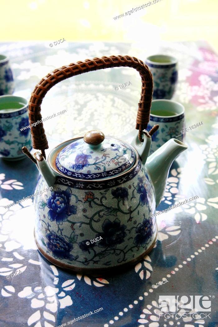 Stock Photo: White and blue china tea set.