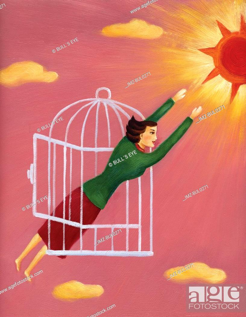 Stock Photo: A woman flying out of a cage toward the sun.
