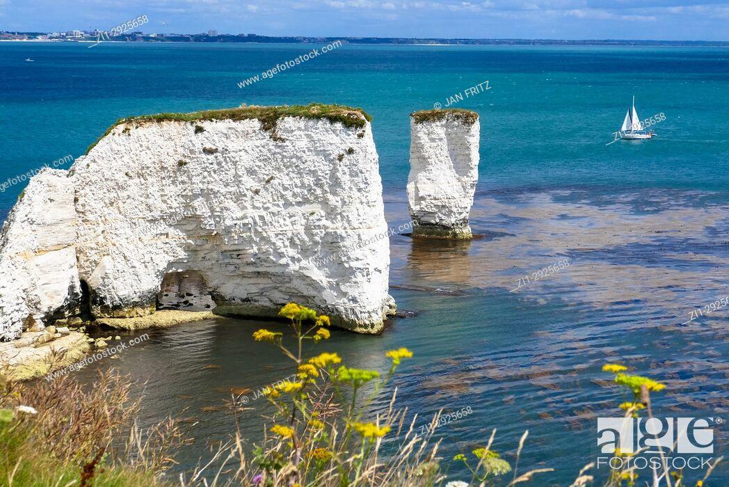 Stock Photo: coast with Old Harry chalk cliffs at jurassic coast, Dorset, England.