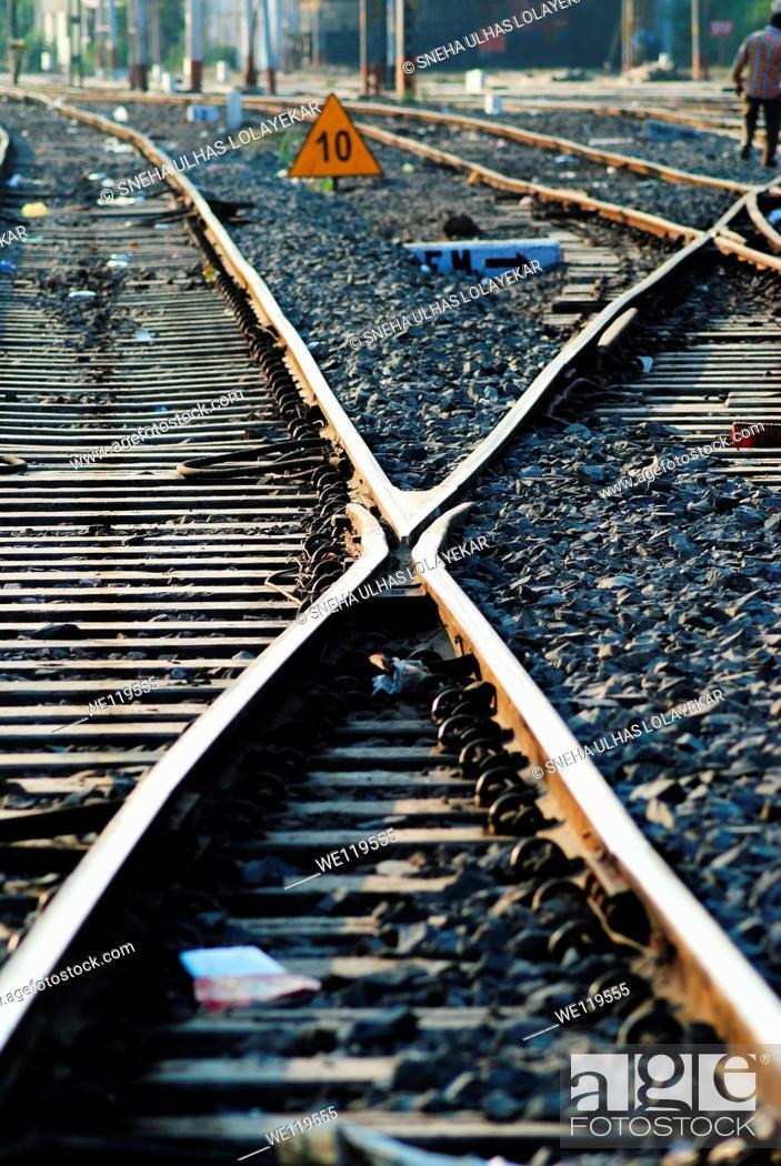 Stock Photo: Railroad TrackPoona, Maharashtra,India.