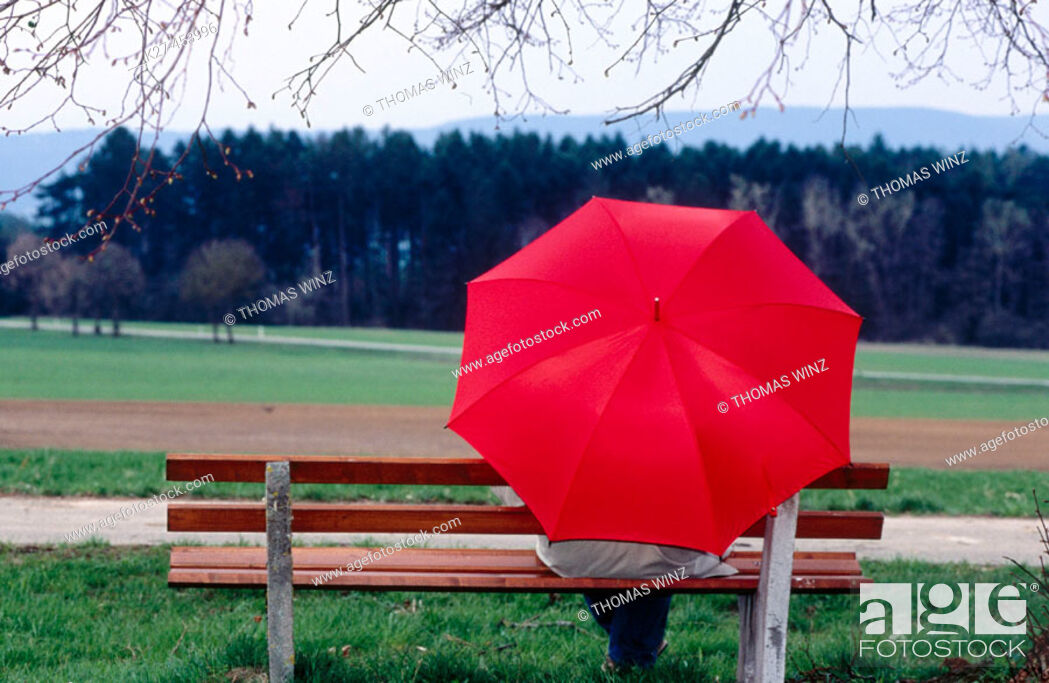 Stock Photo: Person with red umbrella sitting on bench under tree. Germany.