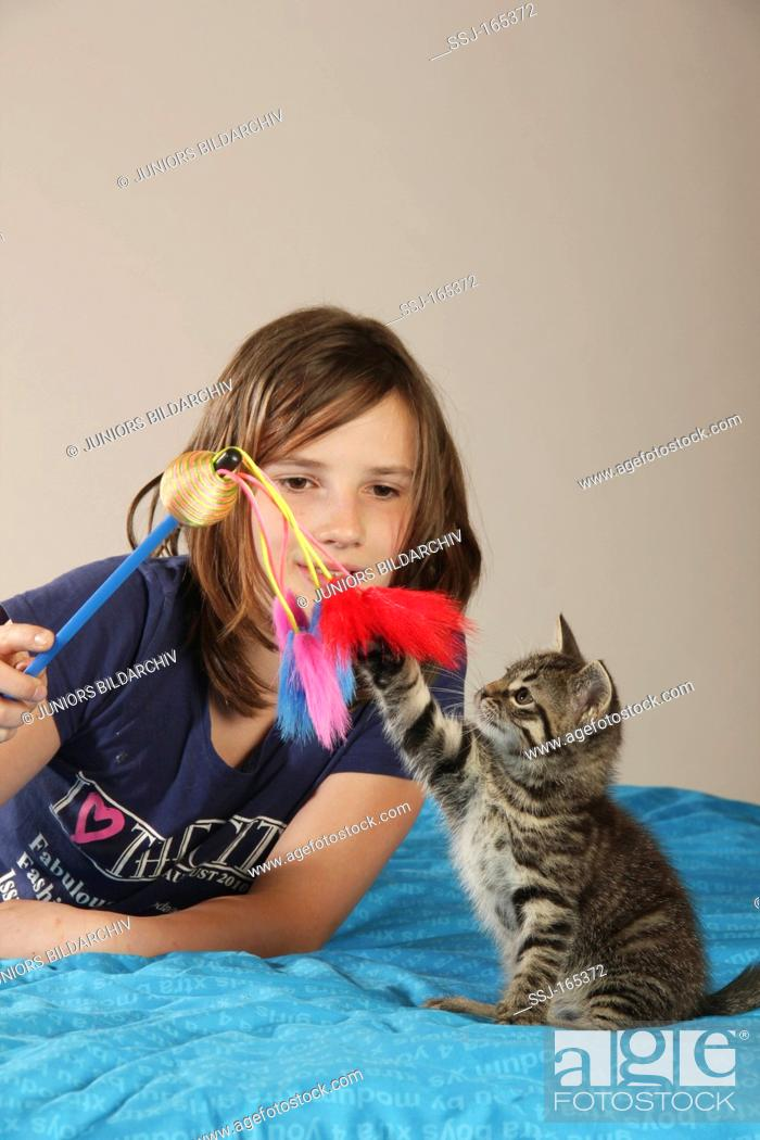 Stock Photo: girl playing with kitten.
