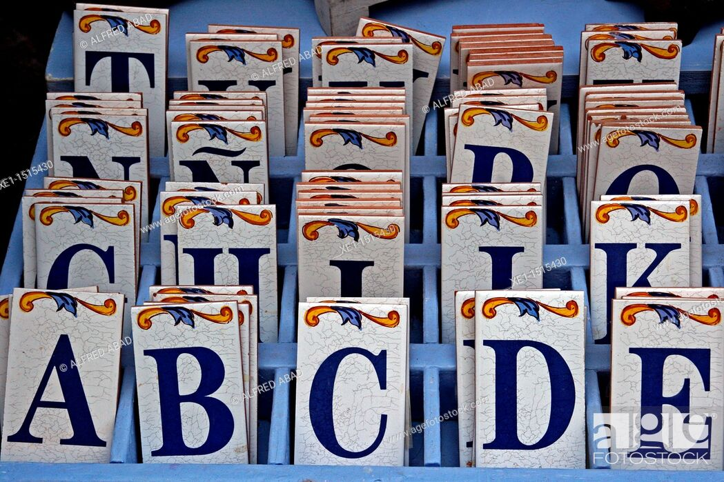 Stock Photo: Ceramic letter tiles.