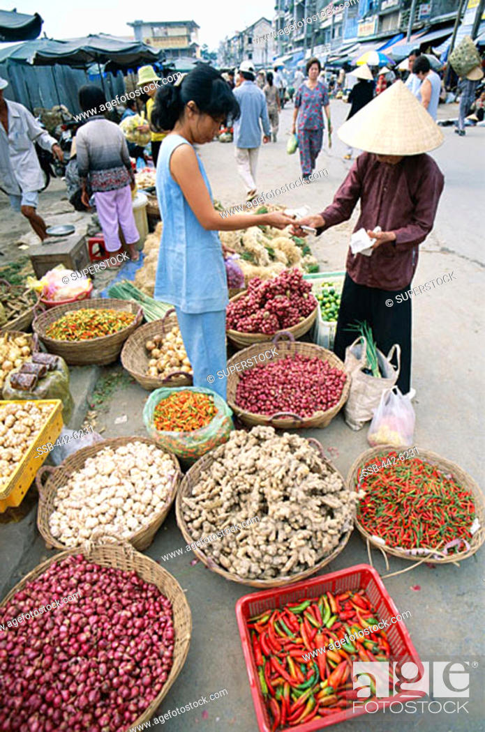 Stock Photo: Chilies, Garlic, Ginger, Local Produce, Market, Can Tho, Mekong Delta, Vietnam.