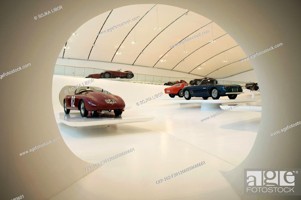 Stock Photo: Museum Enzo Ferrari in Modena, Italy on May 27, 2012 Ferrari museum was designed by Czech-born architect Jan Kaplicky A museum is dedicated to the life and.
