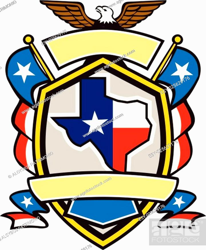 Vector: Illustration of coat of arms style emblem of Texas state map draped in its state flag with american eagle up on top and unfurled Texan lone star flags on side.