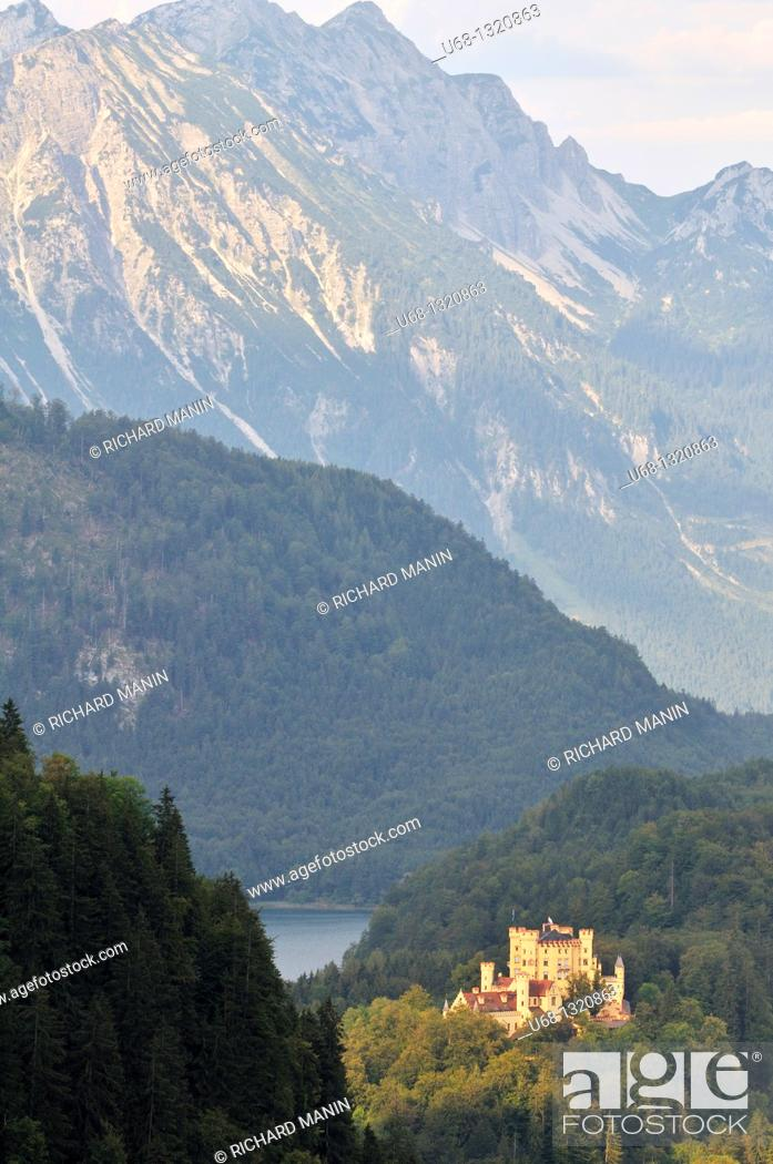 Stock Photo: Germany, Bavaria, Schwangau, castle of Hohenschwangau was the property of King Maximilian II of Bavaria in 1832, this house was the summer residence of the.