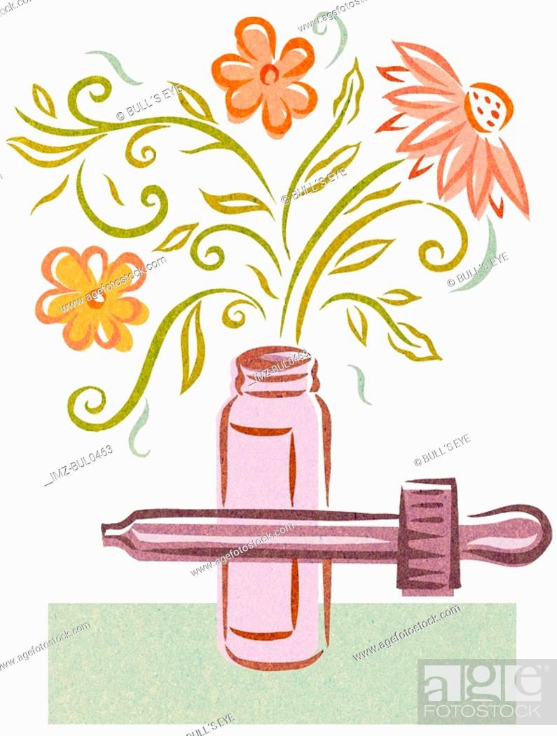 Stock Photo: Essence of flower tincture.