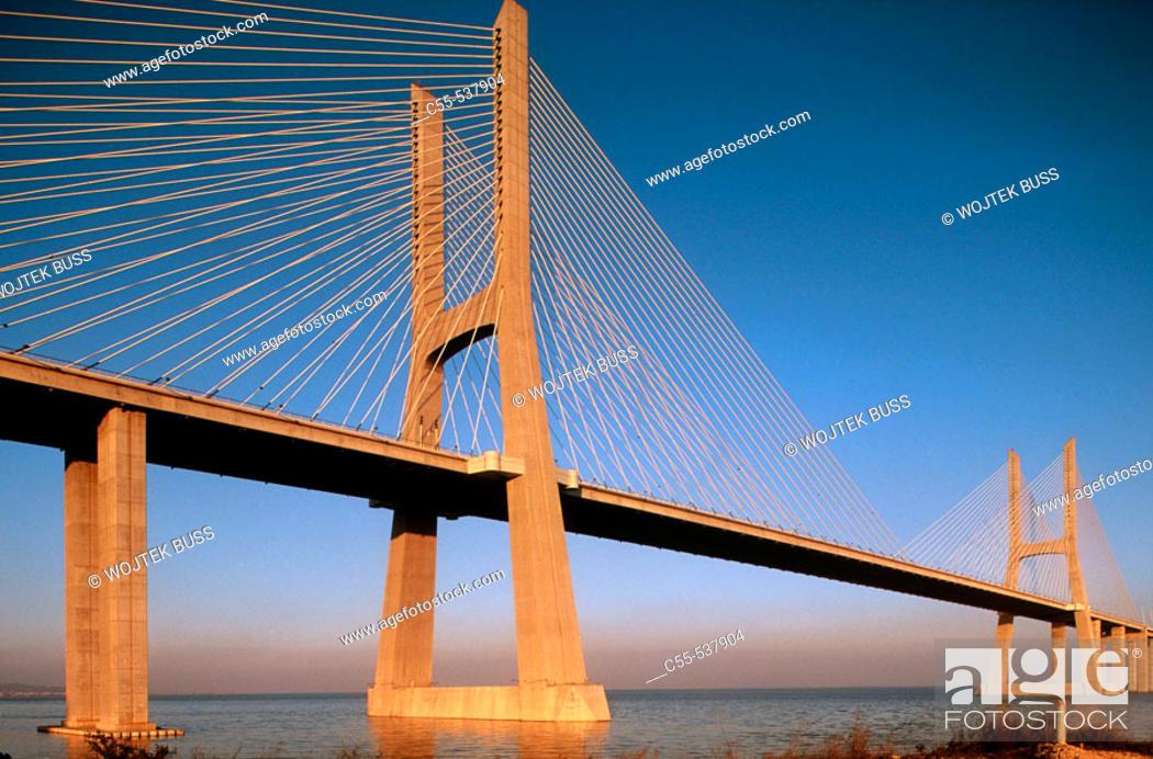 Stock Photo: Vasco da Gama bridge over Tejo river, Lisbon. Portugal.