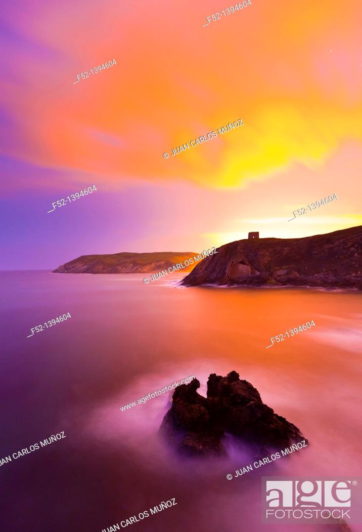 Stock Photo: Santa Justa beach, Ubiarco, Bay of Biscay, Cantabria, Spain, Europe.