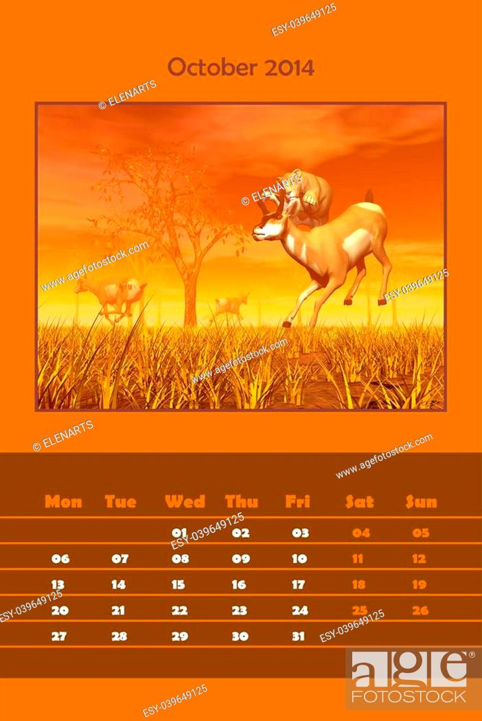 Stock Photo: Colorful english calendar for october 2014 - lionness hunting pronghorn antelope, 3D render.