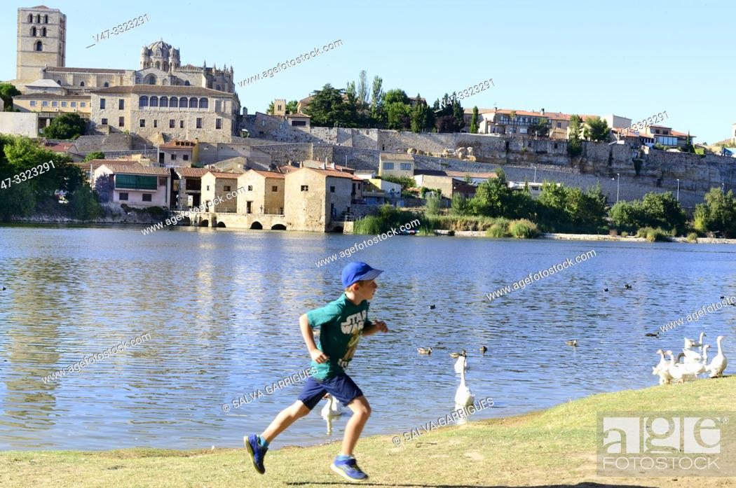 Stock Photo: Los Pelambres beach, is a river beach of the Duero river, picnic and leisure place.