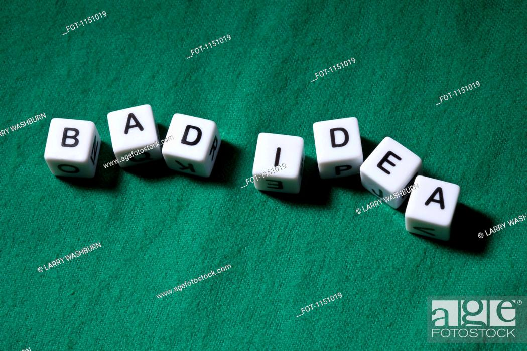 Stock Photo: Lettered cubes spelling the words BAD IDEA.