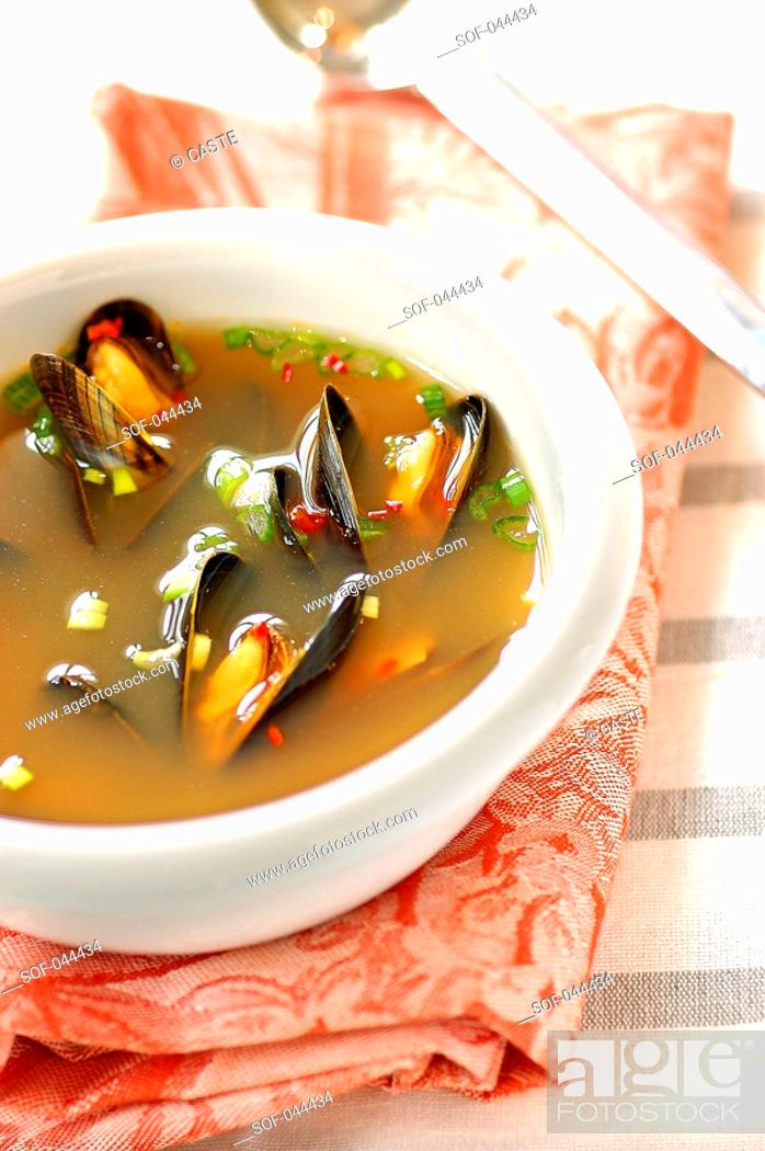 Stock Photo: mussel and saffron nage.
