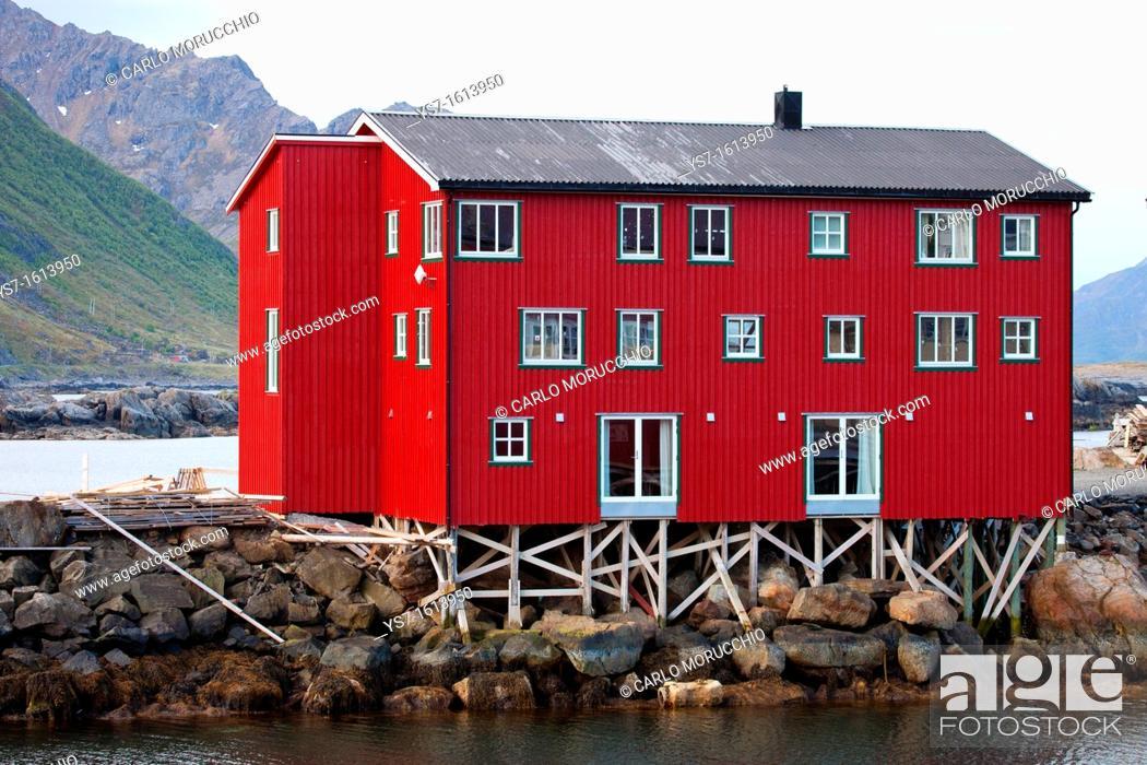 Stock Photo: Houses on the harbour of Nyksund village, Langøya island, Vesterålen archipelago, Troms Nordland county, Norway.