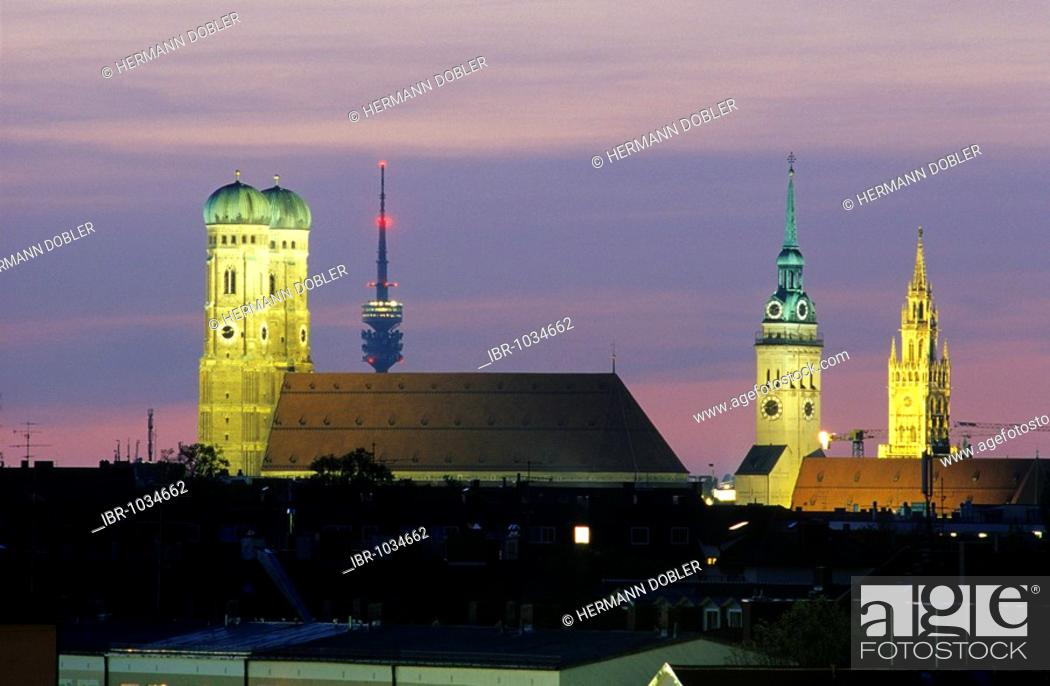 Stock Photo: Skyline of Munich, Frauenkirche Church, Olympia Tower, Alter Peter Church and the new town hall, Munich, Bavaria, Germany, Europe.