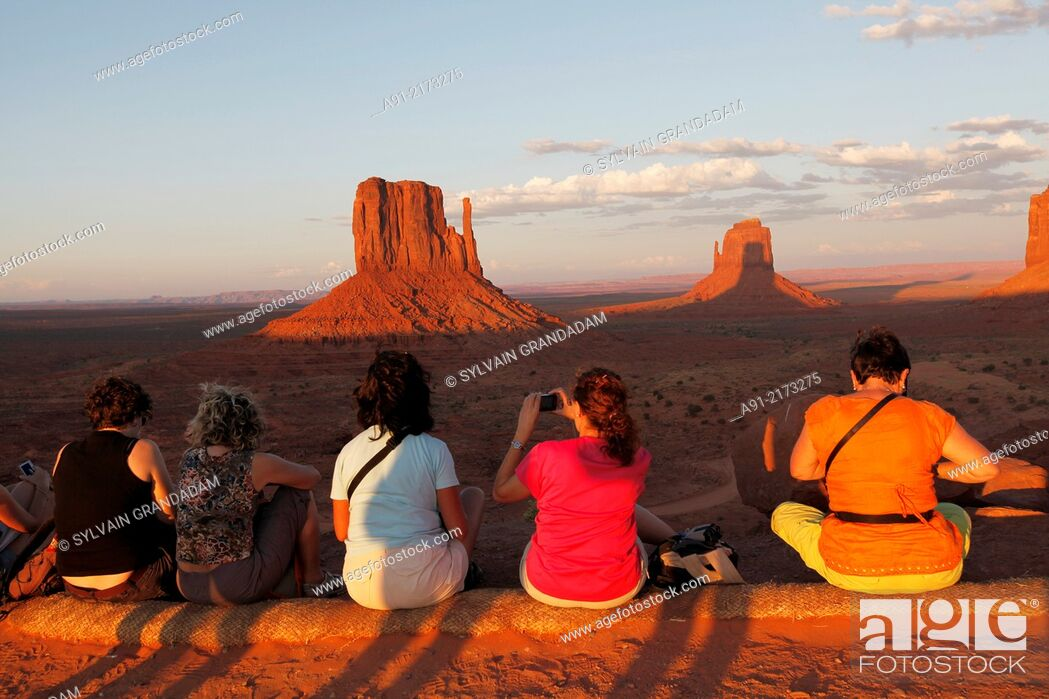 Stock Photo: USA, Arizona, Navajo reservation, Monument Valley tribal park, sunset on the red mesas.