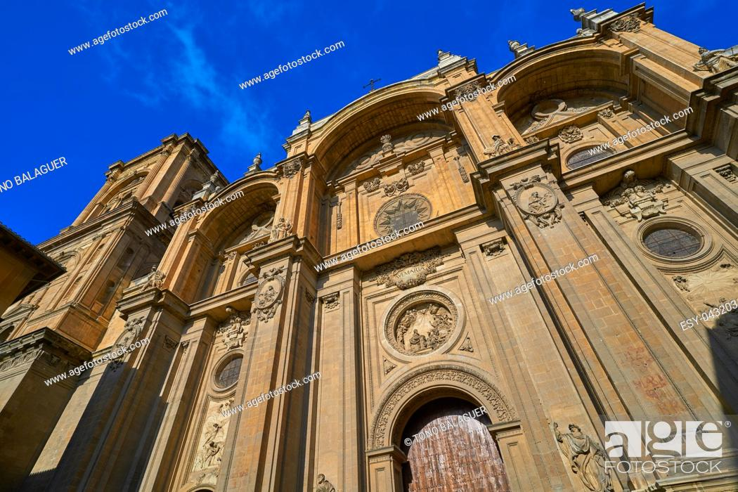 Stock Photo: Granada Cathedral facade in Spain Andalusia.