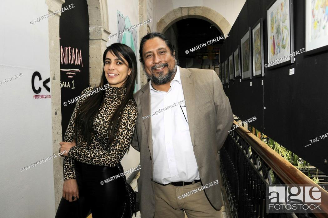 Stock Photo: MEXICO CITY, MEXICO ñ DECEMBER 15: Actress Astrid Romo and Julio Barcenas pose for photos during Emma film press conference at La Casa del Cine Mx.