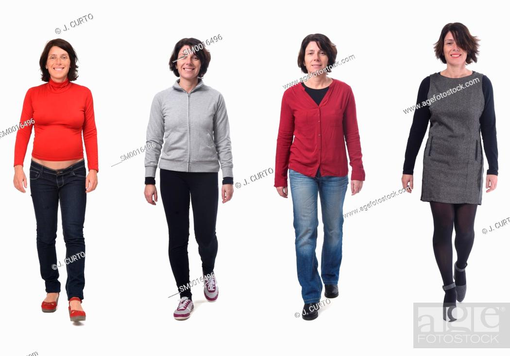 Stock Photo: same woman with various outfits and pregnant on white background.