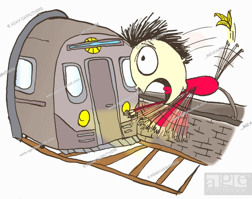 Stock Photo: A man slipping on a banana peel and falling in front of a train.