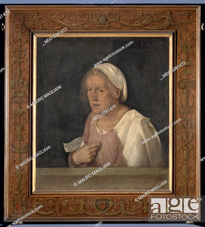 Imagen: The Old Woman (With Time), by Giorgio da Castelfranco known as Giorgione, 1508 - 1510 about, 16th Century, tempera and walnut oil on hempen cloth transferred.