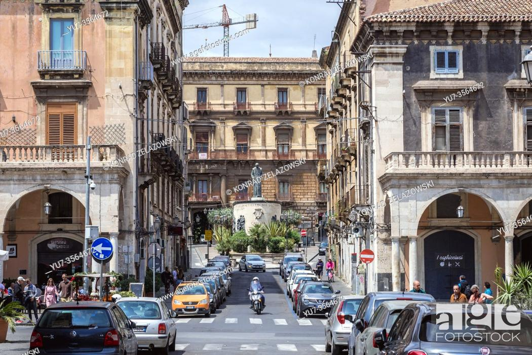 Stock Photo: Statue of Francis of Assisi seen from Piazza Mazzini in Catania, second largest city of Sicily island in Italy.