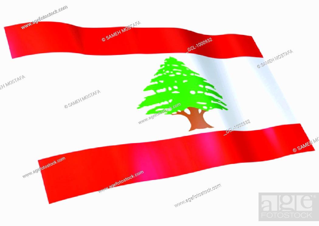 Stock Photo: flag of Lebanon.
