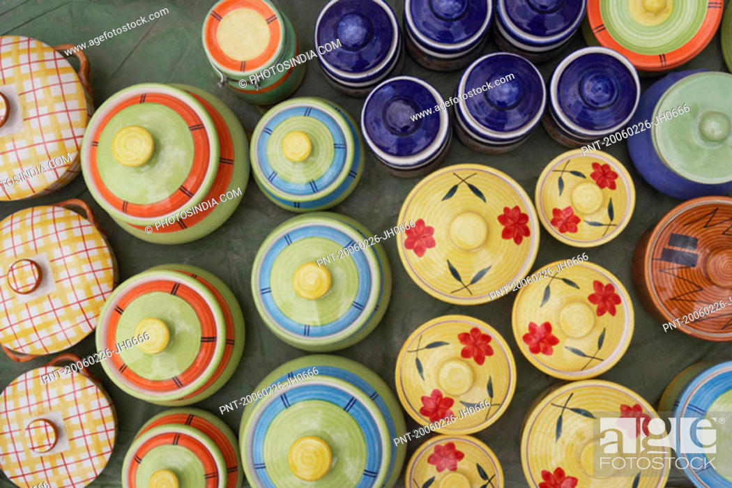 Stock Photo: High angle view of pottery jars.