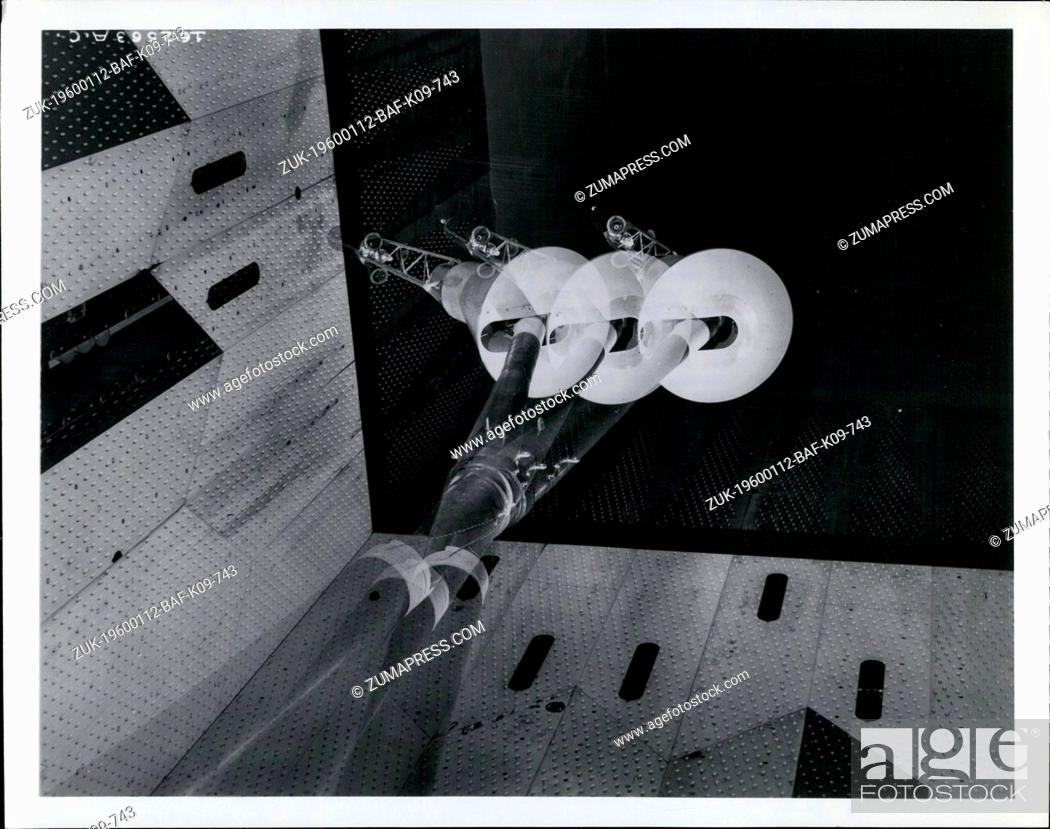 Stock Photo: 1980 - Post launch flight characteristics - This multiple exposure photograph shows a 32 per cent scale model of the National Aeronautics and Space.
