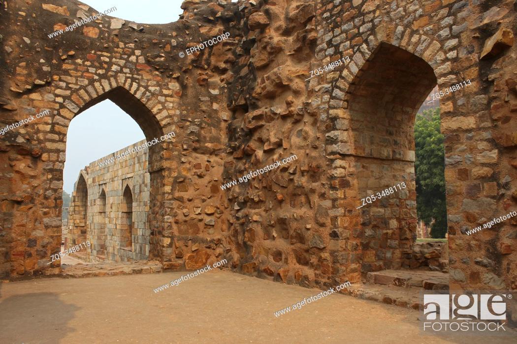 Stock Photo: Tomb of Alauddin Khilji, Qutub Minar, Delhi, India.